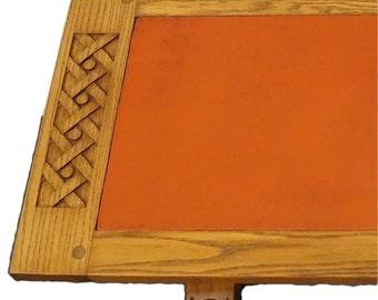 """ROMWEBER VIKING OAK 52"""" Leather Top Coffee Table 5-081"""