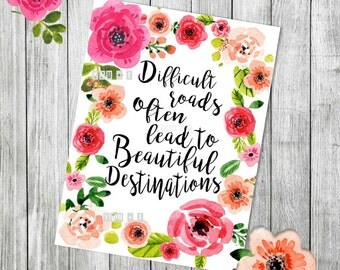 Motivational Wall Poster - Difficult Roads Lead to Beautiful Destinations - Instant Download - Printable Poster