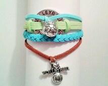 VOLLEYBALL Sports Bracelet, Infinity Circle Affirmation Charm Sports Bracelet, Blue Suede Infinity Bracelet, Friendship Sports Bracelet,