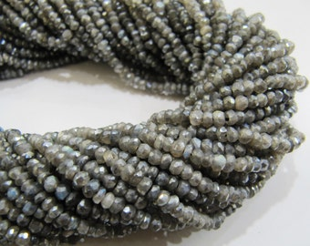 Very Good Quality Mystic Labradorite Beads / Rondelle Faceted Genuine Beads / Size 3mm to 4mm / Sold per strand of 13 to 14 inch long.