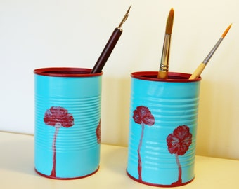 "TINker Collektion Set of two pencil holders ""Poppies"" made of tin cans, handpainted, stationery, two pieces"