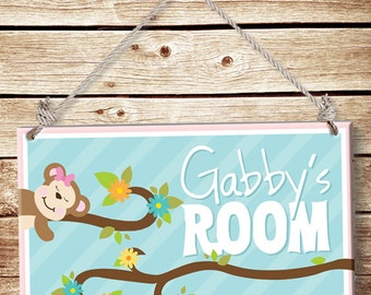 Custom PERSONALIZED Kids Wood Wall Sign Room Decor Door Plaque Girls Nursery Bedroom Cute Sleeping Monkey Jungle Animals Pink GREAT Gift!