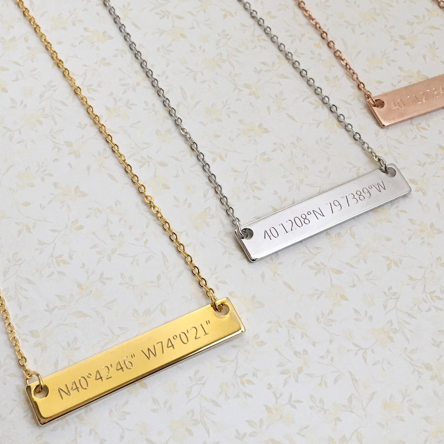 Gps Coordinates Necklace: Engraved Necklaces: Custom Coordinates Necklace Bar Necklace