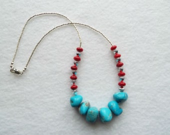 Turquoise Nugget and Coral Necklace