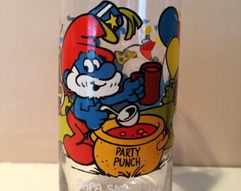 Vintage 1983 Papa Smurf Glass
