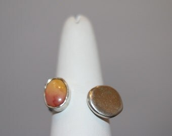 Pink and Yellow Mookaite Jasper Ring size 7.5