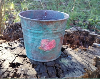 SHABBY CHIC Small Galvanized Planter Flower Pot Vintage Look