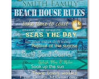 Personalized Beach House Art, Beach House Rules, Coastal Decor, Giclee Canvas Print