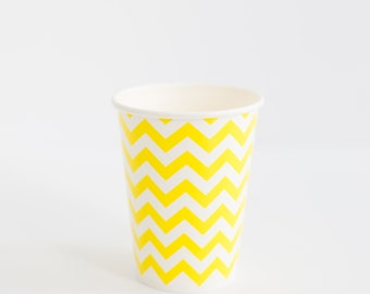 10 Yellow Chevron paper cups 9oz