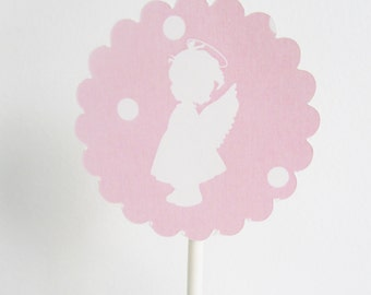 Pink Angels Toppers  Girl Baptism decor  Girl Baptism party