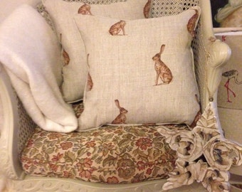 Piped Cushion Cover in Peony & Sage Mr Hare
