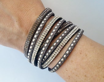 SALE! Gray Rhinestone/Suede Doublewrap Adjustable Bracelet - 12 colors to choose from!