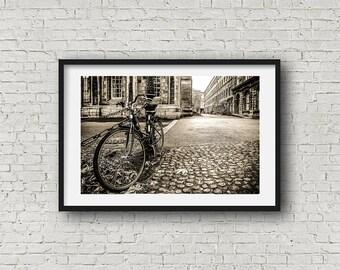 Bicycle Dublin Ireland Decor Trinity College Black and White Art Print - Cityscape Photography - AllyEphotography