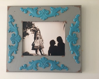 Distressed 8x10 picture frame.