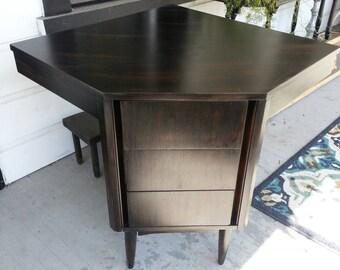 Clearance Vintage furniture black corner desk dixie, mid century modern desk, office or home desk