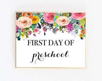 Instant Download First Day Of School, First Day Of School Sign, First Day Of Preschool Sign, First Day Of Preschool Printable, Reusable