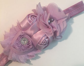 Lilac Multi Flower Bling Baby/Toddler Headband