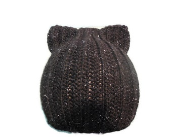 Black Cat Crochet Beanie, Black Glitter Kitty Hat, Kitty Beanie, Halloween Cat Hat, Cat Costume Hat, Baby Cat Beanie, Toddler Cat Beanie