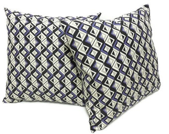 Set of 2 - 14x14 Decorative Throw Pillow Covers, Envelope Closure Throw Pillow Cover, Accent Pillow Cover, Purple Geometric Pillow, Gift