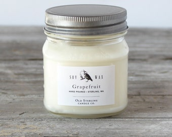 GRAPEFRUIT - Soy Candles - 8 oz. Mason Jar Candle - Scented Candle - Old Sterling Candle Co.