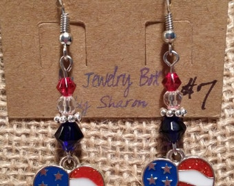 4th of July Heart Shaped Flag Patriotic Charmed Earrings