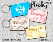 Multiple Dog tag Keychain Mockup Template | Photoshop Mockup | Key Ring Template | Stock Photography