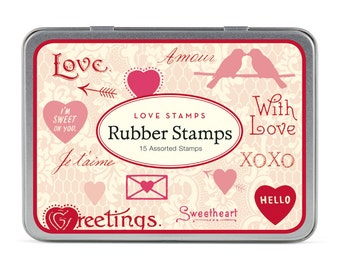 Cavallini and Co Love Notes Rubber Stamp Set, Rubber Stamps, Love, Hearts, Card Making Supplies, Craft Supplies, Scrap Booking, Wedding