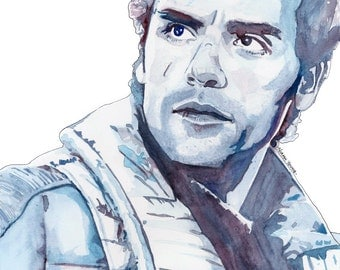 Star Wars Poe Dameron (Oscar Isaac) Watercolour Portrait Print