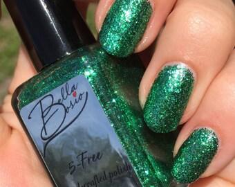 "Emerald City"" Green Glitter Polish - Full Size 15 ml bottle."