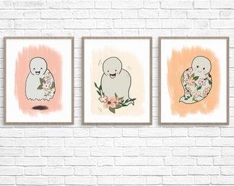 Floral Ghost Art Print Set (3) , Halloween Printable, Ghost Printable, Halloween Wall Decor, Halloween Illustration, Ghost Illustration