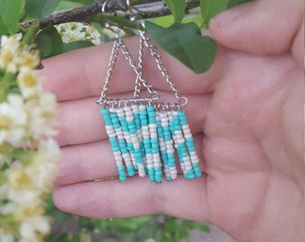 Beaded Turquoise and Opalescent White Fringe Earrings
