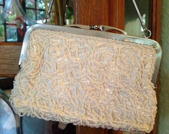 Vintage 1960's Beaded Winter White Handbag * Mr. Jonas