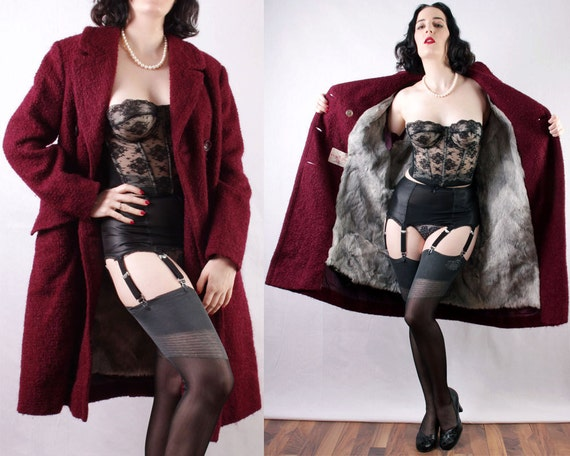 50s Burgundy Wool Coat with Gray Fur lining Made in