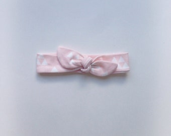 Pink and white triangle organic cotton knit baby girl headband