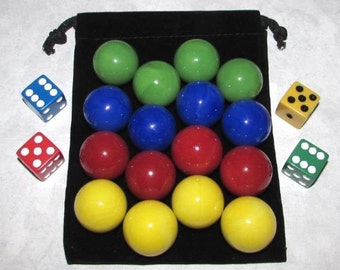 """MO-Marbles Four Player 1"""" (25mm) Opaque Aggravation Wahoo Glass Marbles Game Set"""