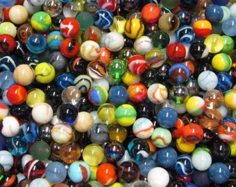 "One Hundred Mint  5/8"" +/- (16mm +/-) Glass Marble Mix, Various Manufactures, Styles and Colors.  Great For Decorating, and Crafts."