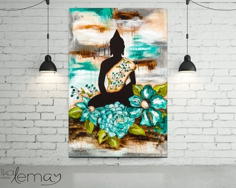 GreenBuddha  mixed media original art