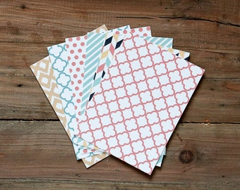 Set of 6 Flat Cards / Thank You Cards / Blank Decorative Cards / Variety Pack