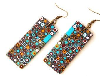 Polymer clay earrings Geometric earrings Long earrings Contemporary jewelry Fashion earrings Bold jewelry Modern jewelry Dangle and drop
