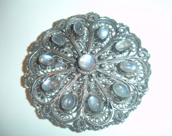 Fabulous Large Antique Sterling Silver Moonstone Brooch