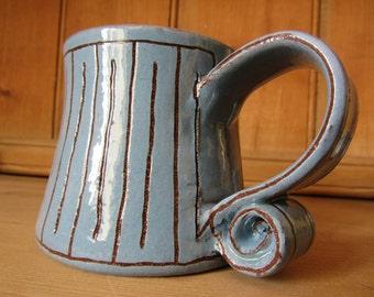 Mug, Hand thrown, Hand drawn, Sgraffito, Slipware