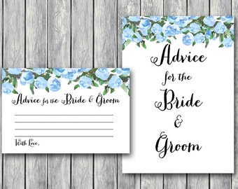 Blue Advice for the Bride and Groom Card & Sign, Printable Advice Cards, Wedding Shower, Bridal game, Bridal shower activity TH17 TH27