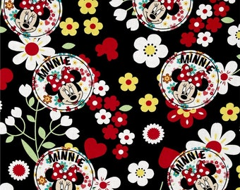 1/2 yard of Disney Black Minnie Mouse Floral Toss 100% Cotton Quilt Fabric