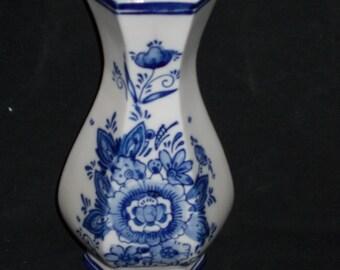 Vase of handpainted delftblueware glazed porcelain.
