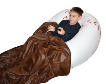 Baseball bean bag chair with baseball glove blanket