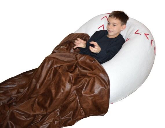 Baseball Bean Bag Chair With Baseball Glove Blanket