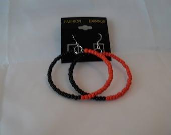 Orange and Black Hoop Earrings
