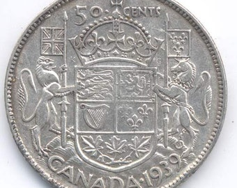 1939 Canadian 50-Cents Silver