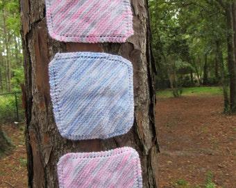 Handmade Knitted Washcloths/Dishcloths set of 3