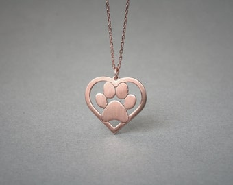 PAW-HEART Necklace / Paw Necklace / Heart Necklace/ Silver, Gold Plated or Rose Plated.